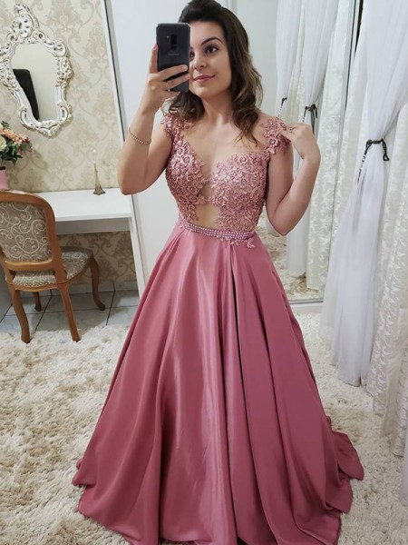 A-Line/Princess Sleeveless Scoop Floor-Length Applique Satin Dresses