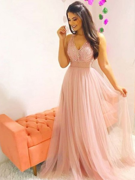 A-Line/Princess Sleeveless V-neck Sweep Train Crystal Tulle Dresses