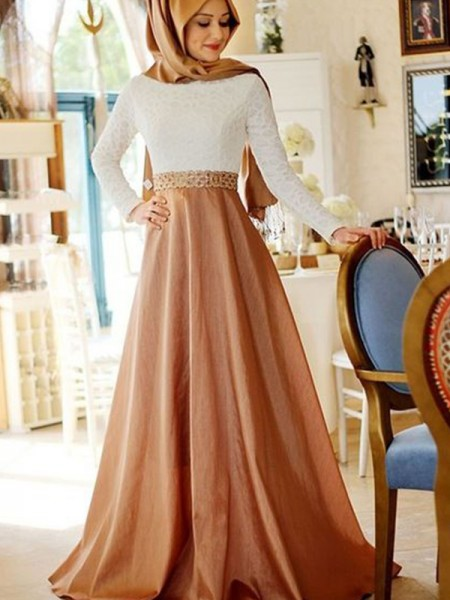 A-Line/Princess Long Sleeves Scoop Sweep/Brush Train Lace Satin Muslim Dresses
