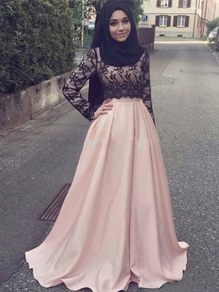 A-Line/Princess Long Sleeves Scoop Sweep/Brush Train Applique Satin Muslim Dresses