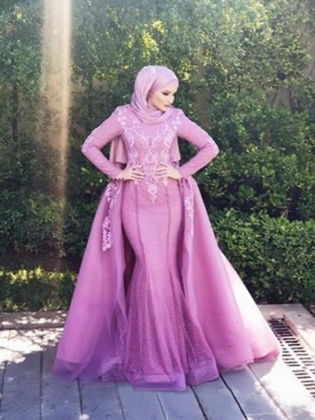 Trumpet/Mermaid Long Sleeves Scoop Sweep/Brush Train Applique Net Muslim Dresses