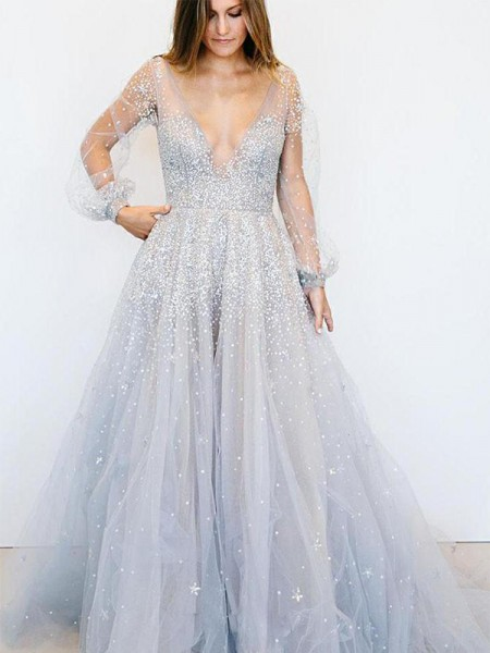 A-Line/Princess Long Sleeves V-neck Sweep/Brush Train Sequin Tulle Dresses