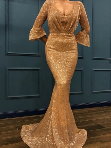 Trumpet/Mermaid 3/4 Sleeves V-neck Sweep/Brush Train Ruffles Sequins Dresses
