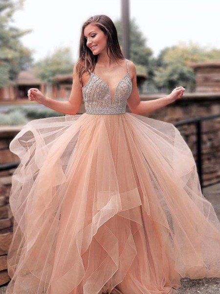 8af8cdb8e1 A-Line Princess Sleeveless Straps Sweep Brush Train Beading Tulle Dresses