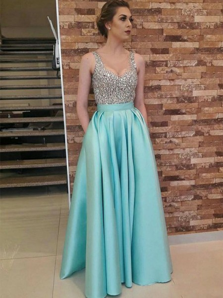 Stylish A-Line/Princess Sleeveless V-neck Floor-Length Beading Satin Dresses