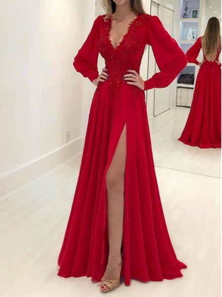 Fashion A-Line/Princess Long Sleeves V-neck Sweep/Brush Train Applique Chiffon Dresses