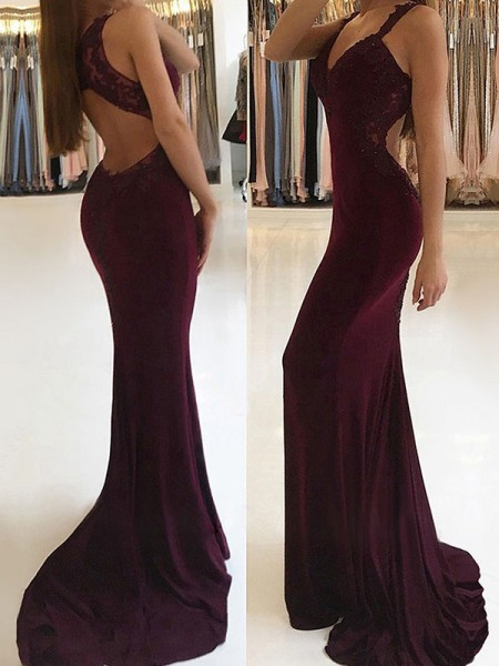 Fashion Trumpet/Mermaid Sleeveless V-neck Sweep/Brush Train Applique Spandex Dresses