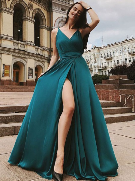 Stylish A-Line/Princess Sleeveless Straps Sweep/Brush Train Ruffles Satin Chiffon Dresses