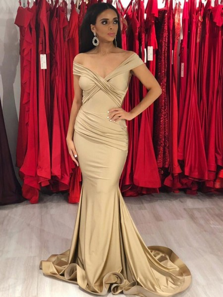 Stylish Trumpet/Mermaid Sleeveless Off-the-Shoulder Sweep/Brush Train Ruffles Satin Dresses