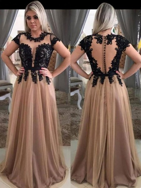 Stylish A-Line/Princess Short Sleeves Scoop Sweep/Brush Train Applique Tulle Dresses