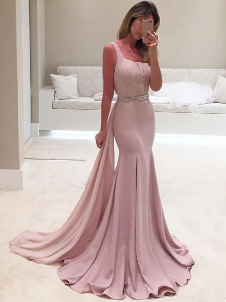 Fashion Trumpet/Mermaid Sleeveless One-Shoulder Sweep/Brush Train Ruffles Chiffon Dresses