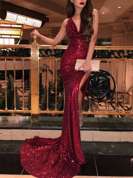 86c62bc841 Fashion Trumpet Mermaid Sleeveless V-neck Sweep Brush Train Ruffles Sequins  Dresses