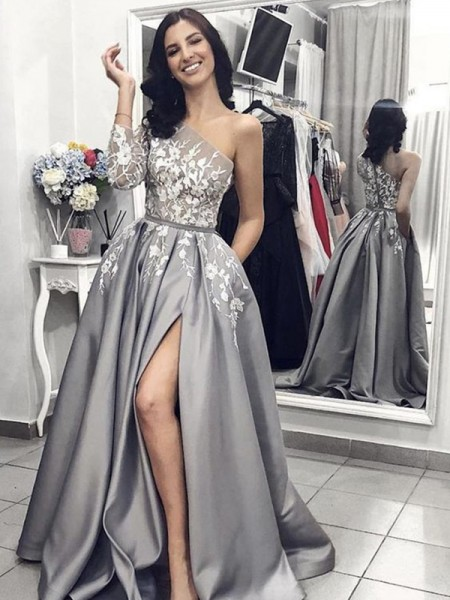 Stylish A-Line/Princess Sleeveless One-Shoulder Sweep/Brush Train Applique Satin Dresses