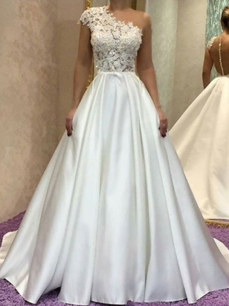 Stylish A-Line One-Shoulder Sleeveless Sweep/Brush Train Lace Satin Wedding Dresses