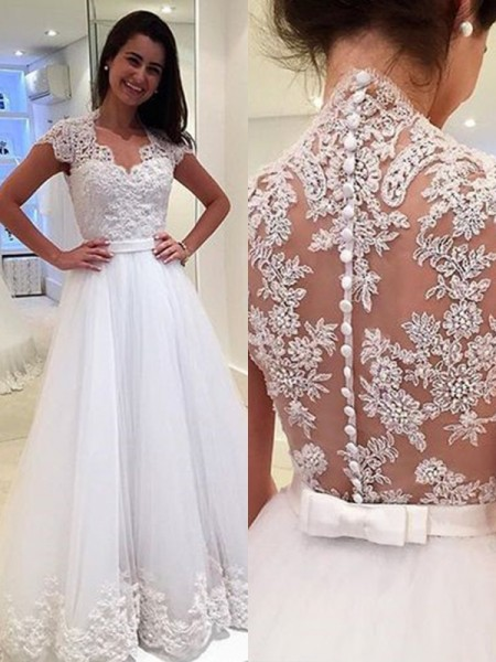 Stylish A-Line V-neck Sleeveless Floor-Length With Applique Tulle Wedding Dresses