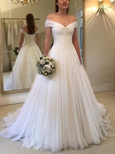 Fashion A-Line Off-the-Shoulder Sleeveless Sweep/Brush Train With Ruched Tulle Wedding Dresses