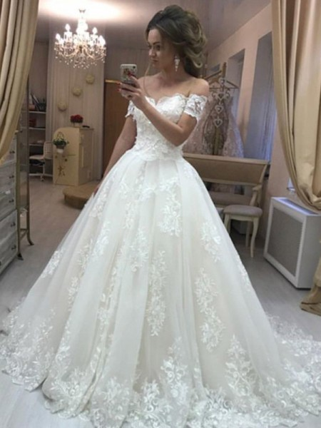 Stylish A-Line Off-the-Shoulder Sleeveless Sweep/Brush Train With Applique Tulle Wedding Dresses