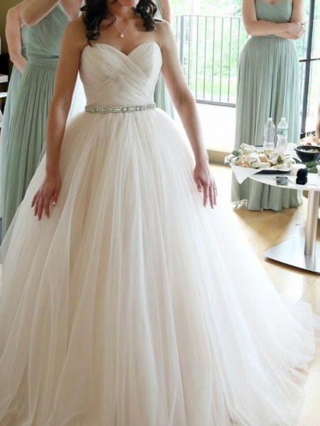Fashion Ball Gown Sweetheart Sleeveless Floor-Length With Beading Tulle Wedding Dresses