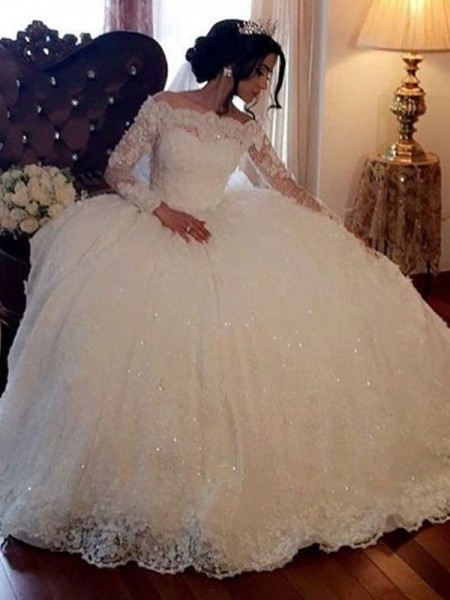 Stylish Ball Gown Bateau Long Sleeves Floor-Length Lace Tulle Wedding Dresses