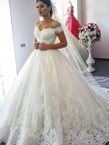 Fashion Ball Gown Off-the-Shoulder Sleeveless Sweep/Brush Train Lace Tulle Wedding Dresses
