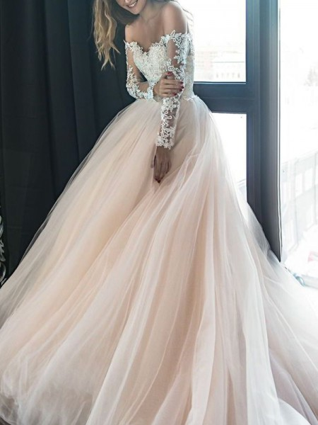 Fashion A-Line Off-the-Shoulder Long Sleeves Court Train With Applique Tulle Wedding Dresses