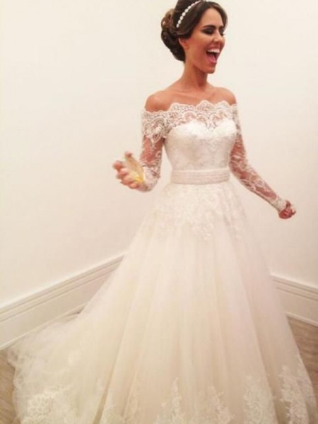 Stylish A-Line Off-the-Shoulder Long Sleeves Sweep/Brush Train Lace Tulle Wedding Dresses