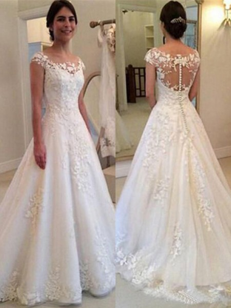 Fashion A-Line Scoop Sleeveless Sweep/Brush Train Lace Tulle Wedding Dresses
