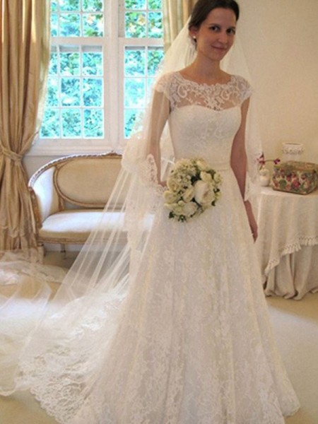 Stylish A-Line Scoop Sleeveless Sweep/Brush Train Lace Satin Wedding Dresses