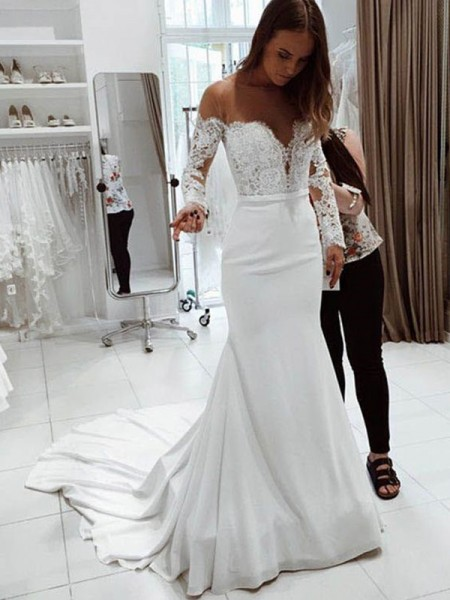 Fashion Mermaid Off-the-Shoulder Long Sleeves Court Train Lace Chiffon Wedding Dresses