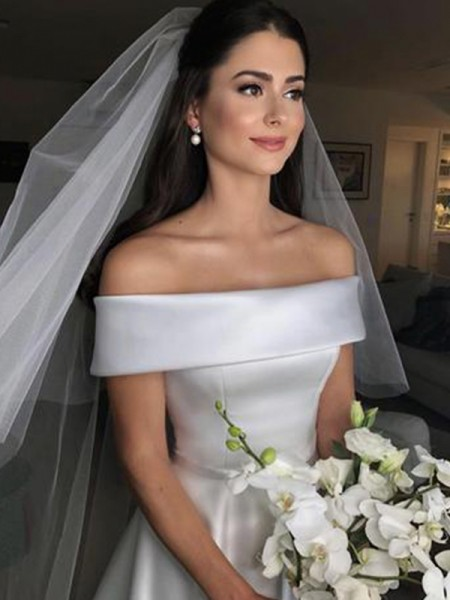 Stylish A-Line Off-the-Shoulder Sleeveless Sweep/Brush Train With Ruffles Satin Wedding Dresses