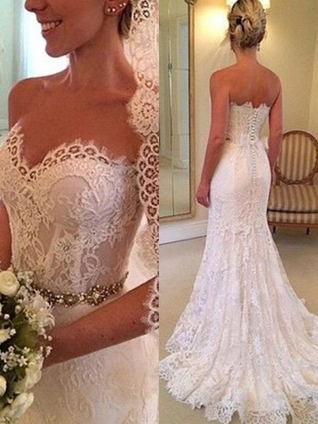 Fashion Sheath Sweetheart Sleeveless Sweep/Brush Train With Beading Lace Wedding Dresses
