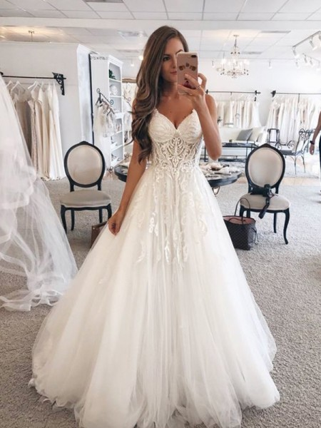 Stylish A-Line Sweetheart Sleeveless Floor-Length Lace Tulle Wedding Dresses