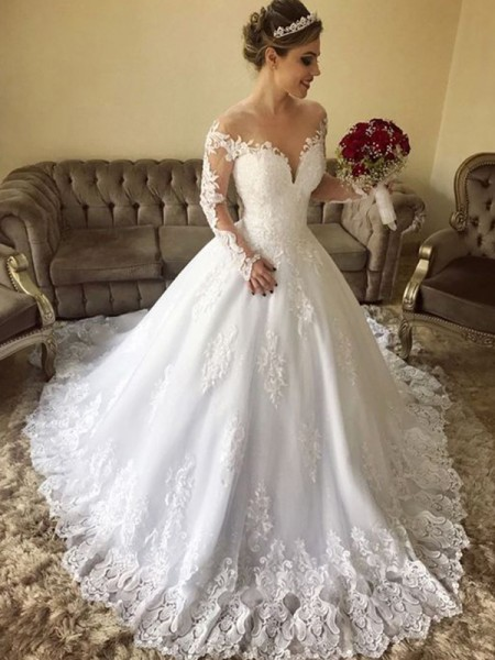 Fashion Ball Gown Off-the-Shoulder Long Sleeves Sweep/Brush Train Lace Tulle Wedding Dresses