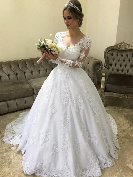 Stylish Ball Gown V-neck Long Sleeves Sweep/Brush Train With Applique Satin Wedding Dresses