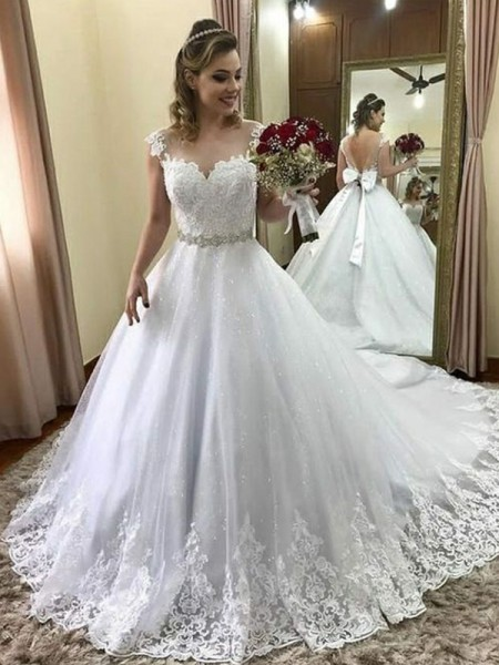 Fashion Ball Gown Sweetheart Sleeveless Court Train With Beading Tulle Wedding Dresses