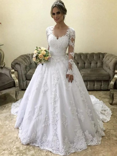 Stylish Ball Gown V-neck Long Sleeves Court Train With Applique Satin Wedding Dresses