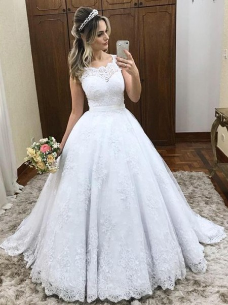 Fashion Ball Gown Scoop Sleeveless Sweep/Brush Train Lace Satin Wedding Dresses
