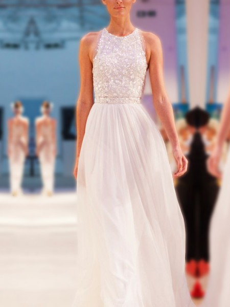 Stylish A-Line Jewel Sleeveless Floor-Length With Beading Chiffon Wedding Dresses
