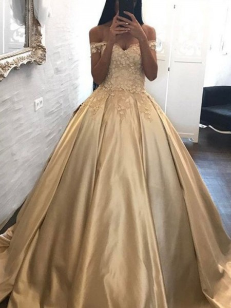 Fashion Ball Gown Off-the-Shoulder Sleeveless Sweep/Brush Train With Applique Satin Dresses