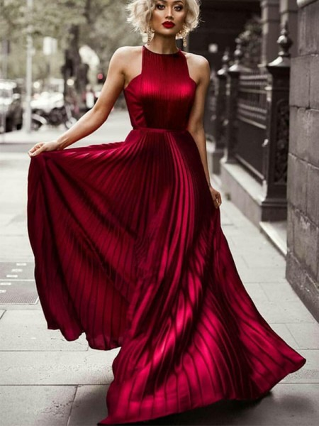 Fashion A-Line Halter Sleeveless Floor-Length With Ruched Silk like Satin Dresses