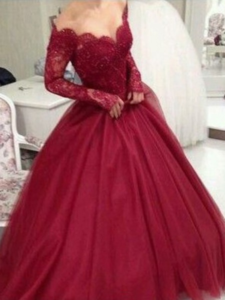 Stylish Ball Gown V-neck Long Sleeves Floor-Length Lace Tulle Dresses