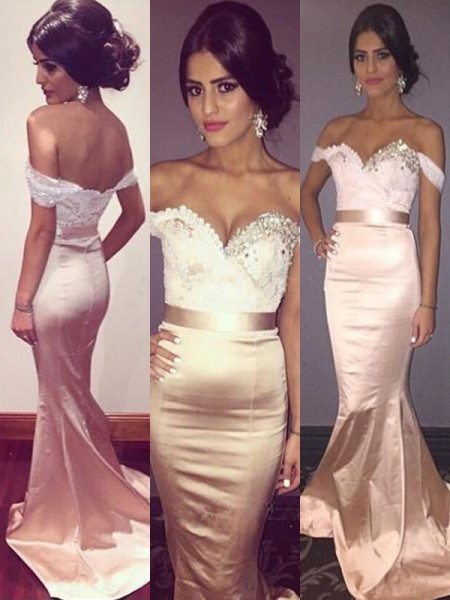 Fashion Trumpet/Mermaid Sleeveless Off-the-Shoulder Sweep/Brush Train Beading Satin Dresses
