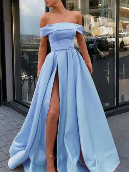 Fashion A-Line/Princess Sleeveless Off-the-Shoulder Sweep/Brush Train Ruffles Satin Dresses