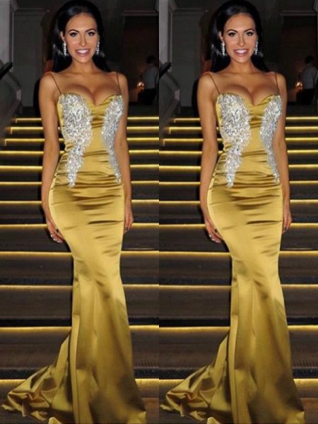 Fashion Trumpet/Mermaid Sleeveless Spaghetti Straps Sweep/Brush Train Beading Satin Dresses