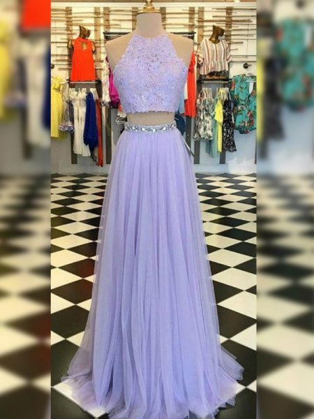 Stylish A-Line/Princess Tulle Lace Halter Sleeveless Floor-Length Two Piece Dresses
