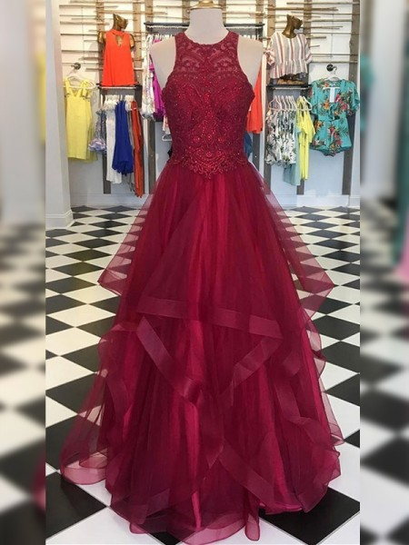 Fashion A-Line/Princess Organza Beading Scoop Sleeveless Floor-Length Dresses