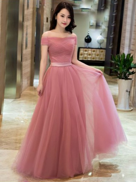 Fashion A-Line/Princess Tulle Ruffles Off-the-Shoulder Sleeveless Floor-Length Dresses