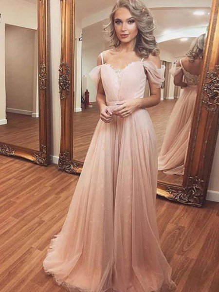 Fashion A-Line/Princess Tulle Ruched Off-the-Shoulder Sleeveless Sweep/Brush Train Dresses