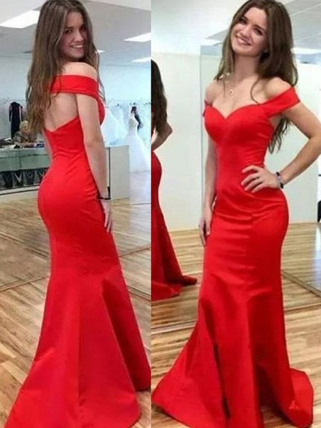 Fashion Trumpet/Mermaid Sleeveless Off-the-Shoulder Floor-Length Satin Dresses