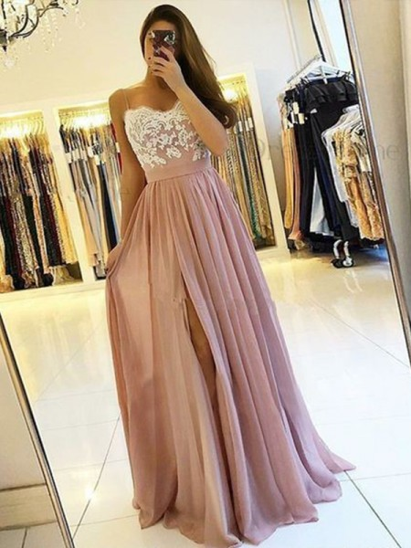 Fashion A-Line/Princess Sleeveless Spaghetti Straps Floor-Length Applique Chiffon Dresses